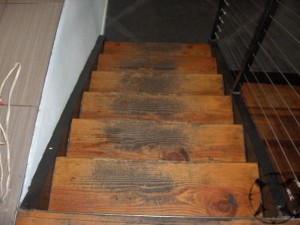 Staining staircases with water based and oil based stains