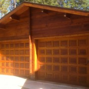 Log Cabin refinish and garage door staining Spokane