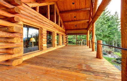 Log cabin home paint, stain and seal